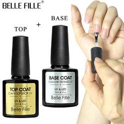 BELLE FILLE Basis Und Top Coat Gel-nagellack UV 10 ml Transparent Soak Off Primer Gel Polish Gel Lack Nailart Keine Wischen Top