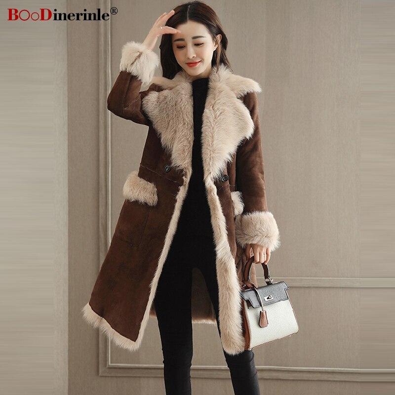 Модное зимнее женское коричневое замшевое пальто, женская Длинная утепленная Меховая куртка, простая уличная одежда, прошитая верхняя одежда для женщин L072