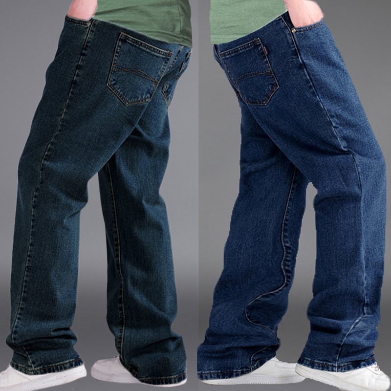 2019 New Blue Straight Trousers Jeans Men Streetwear Relaxed Jeans For Men Korean Fashion Mens Blue Jeans Homme Plus Size 48 50