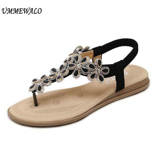 d1d1918f1 UMMEWALO Summer Sandals Women T-strap Flip Flops Thong Flat Sandals Flowers  Rhinestone Gladiator Sandal Shoes Zapatos Mujer