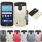 Mix Color Anti-shock Hybrid Brush Armor Card Holder Back Case For LG K10 LTE K410 K430 K430DS/Premier LTE Cover Fundas