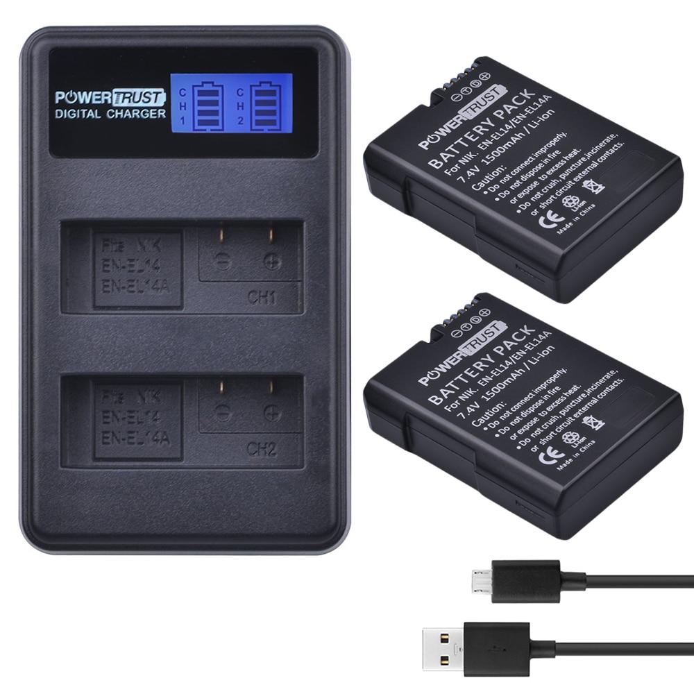 2x1500 mAh EN-EL14 EN-EL14a EN EL14 Batterie + LCD Chargeur Double USB pour Nikon P7800, P7100, D3400, D5500, D5300, D5200, D3200, D3300, Df