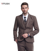 YFFUSHI 2017 Brand New Men Suit One Button Latest Coat Pant Designs Slim Fit Business Casual Style Three Pieces