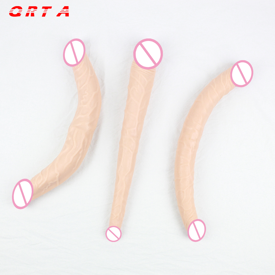 3 options Long Realistic Double Ended Anal Dildo for Women flesh Penis Soft Double Penetration Dual Head Sex Toys adult product faak 46 4 3cm long realistic dual ended