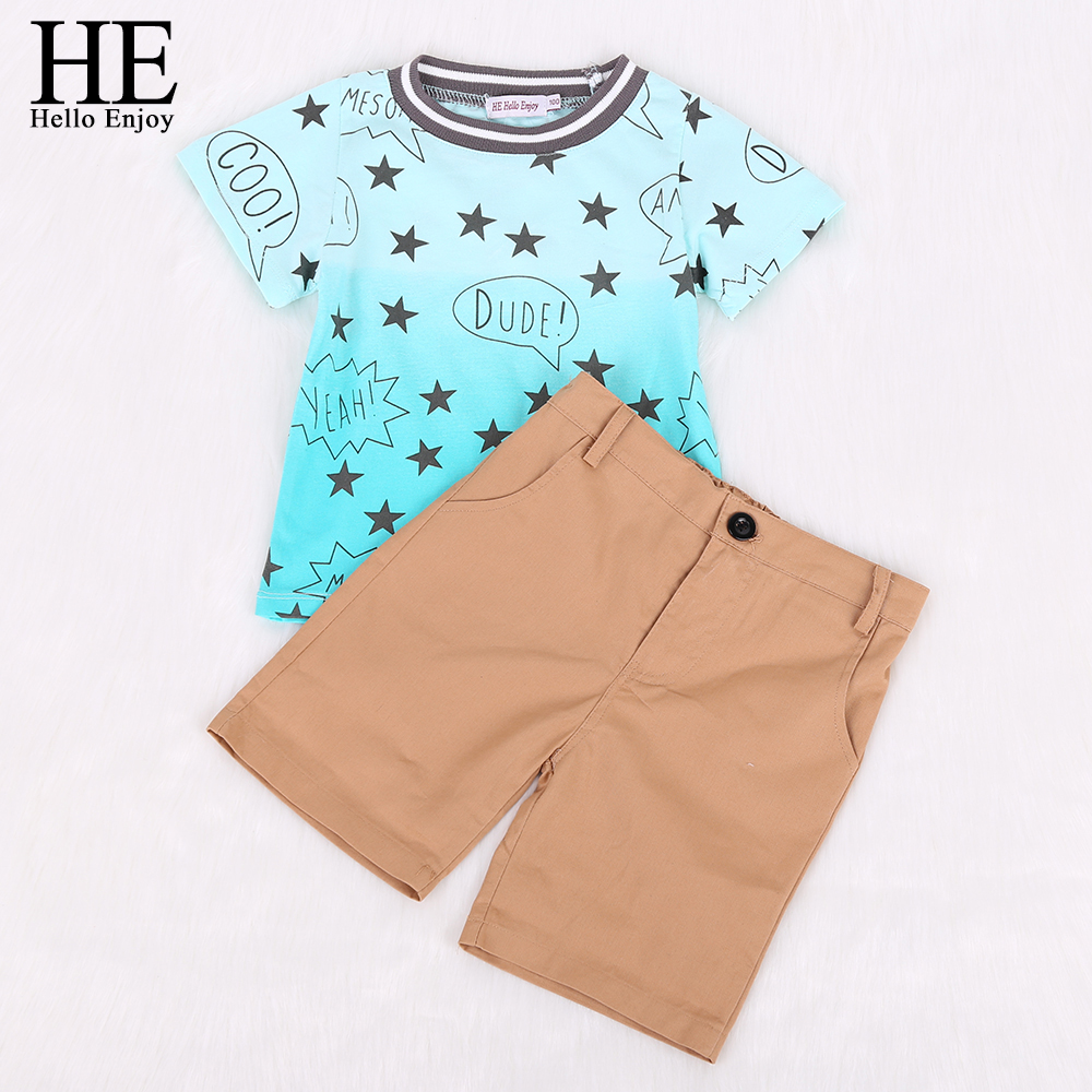 Hello Enjoy kids clothes boys 2016 casual boys clothing Spring Autumn cotton boys clothing suit Short sleeve+pants set