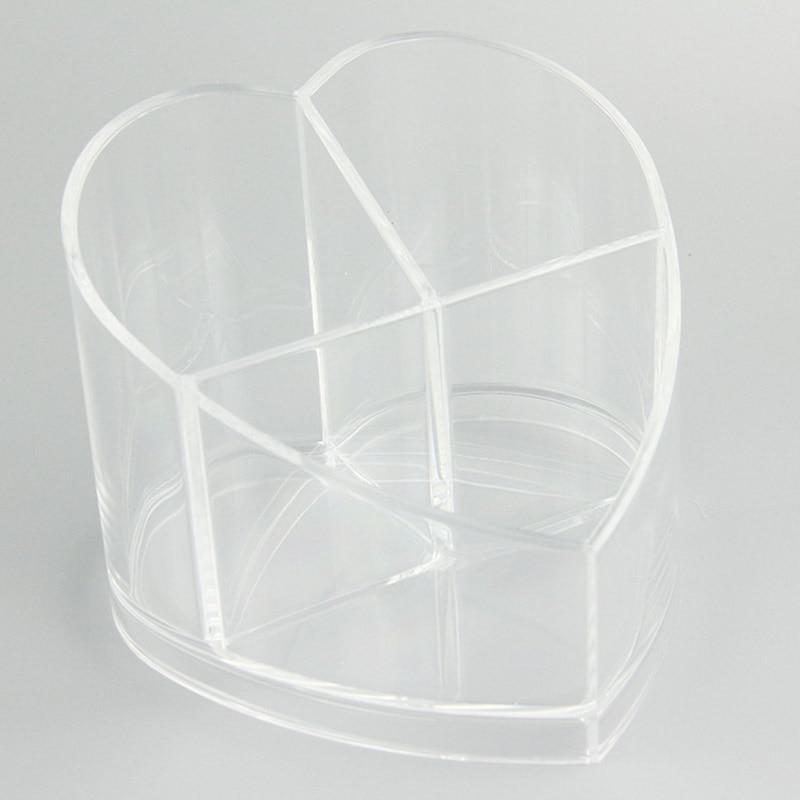 Desktop Storage Box Acrylic Heart-shaped Makeup Organizer Rack Jewelry Holder @ME88
