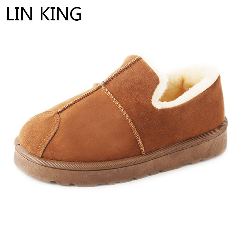LIN KING New Design Women Winter Ankle Boots Slip On Round Toe Snow Boots Warm Non Slip Flats Cotton Shoes Female Short Botas