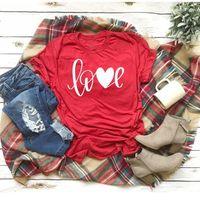 LOVE heart graphic women fashion red tumblr cotton grunge aesthetic unisex  Valentine s Day hot sale tee cotton t-shirt goth tops 690875b1fa55