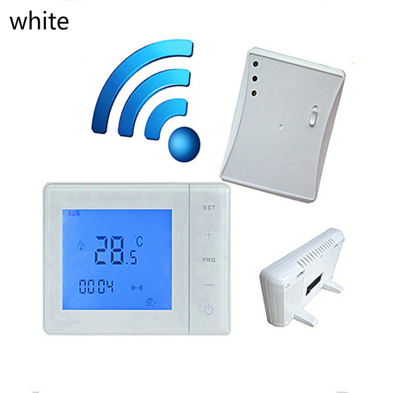 Wireless Touch Screen Programmable thermostat Temperature controller for boiler gas wall hanging stove 5A 220V radio frequency control wireless boiler thermostat temperature controller