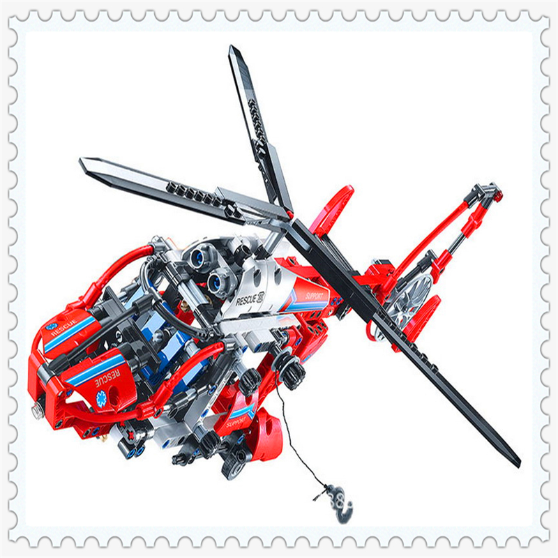 DECOOL 3355 Technic City Series Rescue Helicopter Building Block 407Pcs DIY Educational  Toys For Children Compatible Legoe decool 3114 city creator 3in1 vehicle transporter building block 264pcs diy educational toys for children compatible legoe