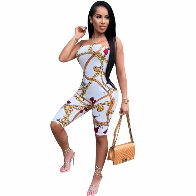59068b27a394 Overalls Strapless Jumpsuits 2018 Print Summer new women playsuits casual  sexy fashion Bandage jumpsuit rompers feminino CM160