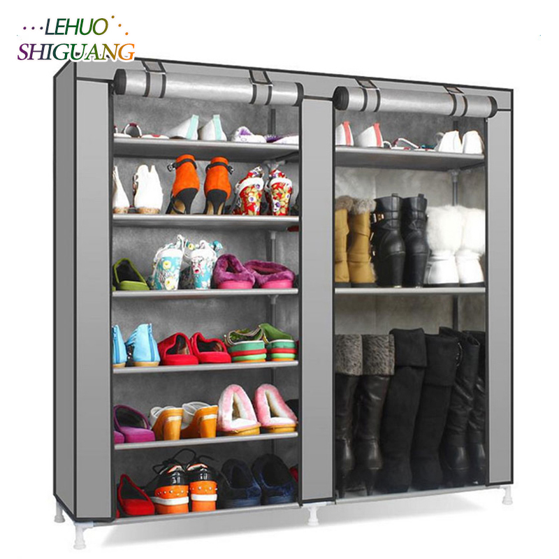 Double row 9 grid Shoe rack gray Non-woven organizer storage cabinet Assembly shelf Shoe cabinet home living room Furniture double row 12 grid shoe rack wine red non woven organizer storage cabinet assembly shelf shoe cabinet home living room furniture