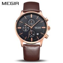 MEGIR オリジナル時計の男性トップブランドの高級男性は革の時計男性腕時計レロジオ Masculino Horloges 万年 Erkek Saat