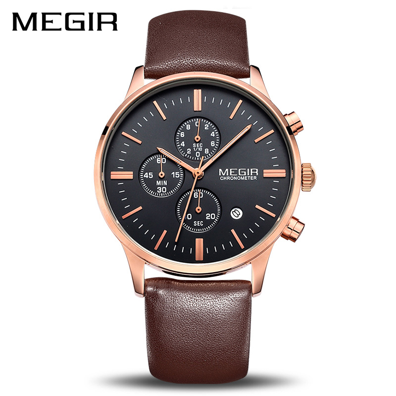 MEGIR Original Watch Menn Topp Merken Luksus Menn Watch Leather Clock Herreklokker Relogio Masculino Watches Mannen Erkek Saat