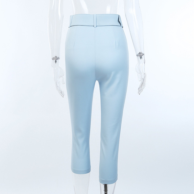 2019 Fashion High Waist Slim Fit Sweat Pencil Pants Women Belt Streetwear Casual Capris Workout Femme Black Blue Ninth Trousers 2