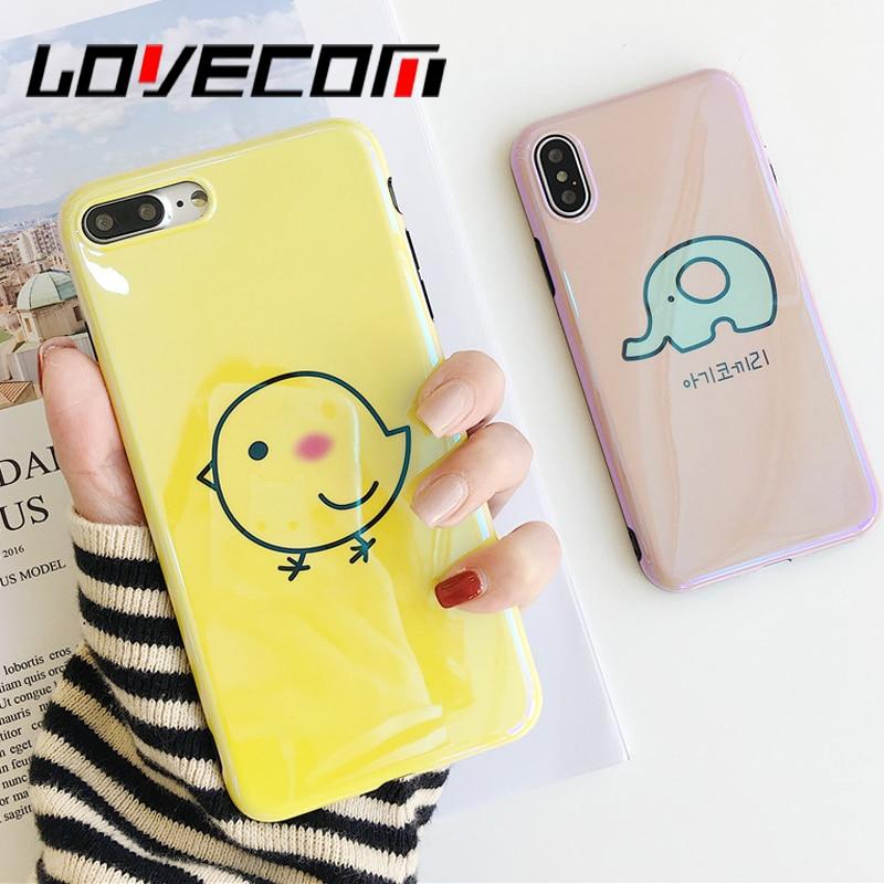 Lovecom Blu-Ray чехол для телефона iPhone 6 6 S 7 8 плюс х Прохладный корейский стиль Чик и Слон Мягкая IMD телефон задняя крышка Чехол
