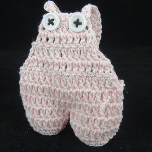 12pcs Miniature Crochet Dungarees Pink For Christening Baby Shower