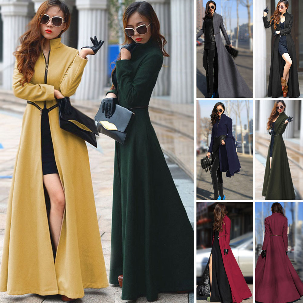 2016 ฤดูใบไม้ร่วงฤดูหนาวแคชเมียร์ Trench Coat ยุโรปและอเมริกา Street แฟชั่นเปิดส้อม Slim Solid Coat Plus ขนาดผู้หญิงผ้า-ใน โค้ทยาว จาก เสื้อผ้าสตรี บน   2