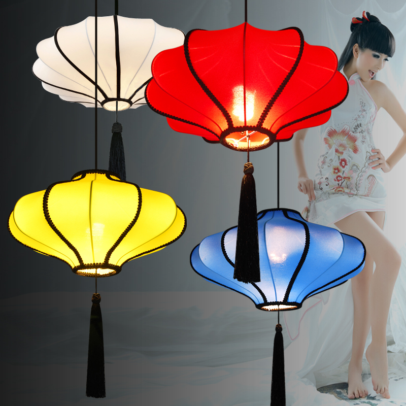 20 Chinese Style Lantern Dining Room Pendant Light Fabric Restaurant Hanging Lamps Retro Living