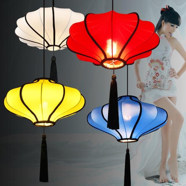 Chinese Style Lantern Dining Room Pendant Light Fabric Restaurant ...