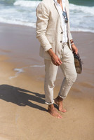 2018 Summer Ivory White Linen Slim Fit Wedding Suit For Men Beach Party Groomsman Casual Jacket And Pant Tuxedos traje hombre