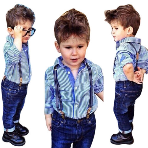 Baby Boys Striped Collared Shirt Tops Bib+Straps Jeans Overalls Outfit 1Set 2pcs children outfit clothes kids baby girl off shoulder cotton ruffled sleeve tops striped t shirt blue denim jeans sunsuit set