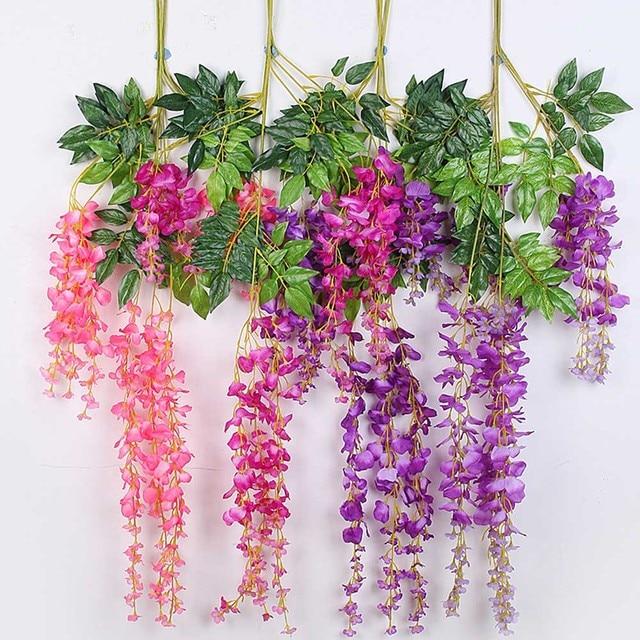 hot 10pcs 110cm purple pink white silk wisteria rattan diy artificial flower vine for hotel wedding