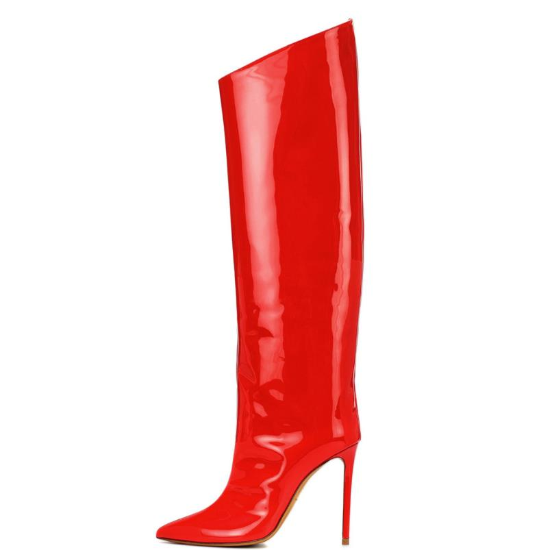 Hiver Pointu Mode Vernis Chaussures Haute Genou Cuir Automne Européen Commerce De Extérieur Rouge Américain En Et Talons 5xgqqwYXT