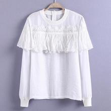 New Women fashion Lace Stitching Tassel long sleeve Blouse Shirt Tops T462