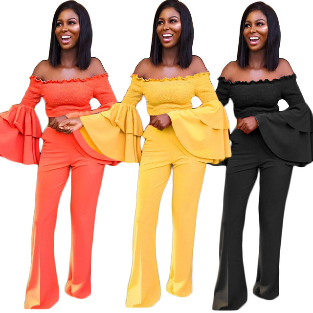 4b9d9fc6f9c Autumn Winter Women Yellow Orange Two Piece Set Slash Neck Off Shoulder  Ruffle Bell Sleeve Crop Top Wide Leg Flare Pants Outfits. 1 order