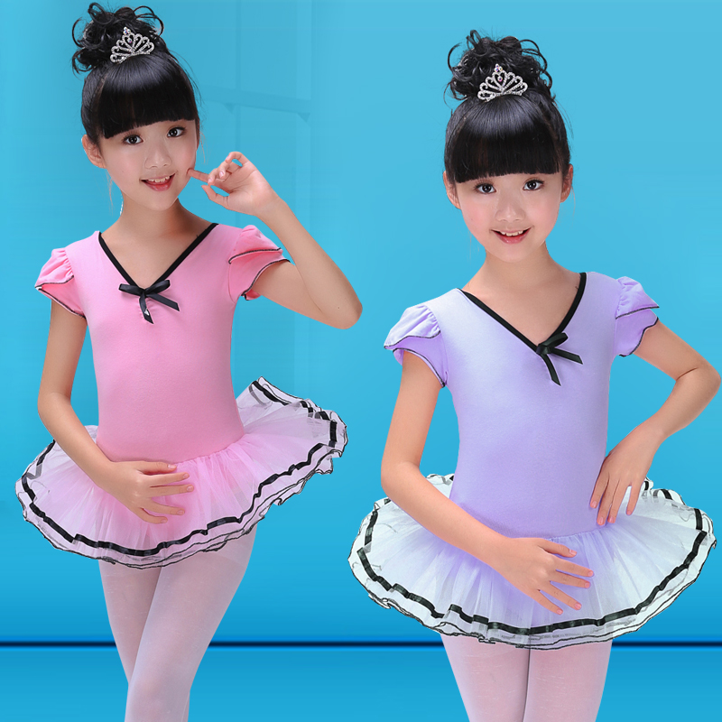 Short Sleeve Cotton Ballet Infantil Romantic Tutus Ballet Costume Girls Ballerina Dress Dance Costumes Ballet Clothes Children