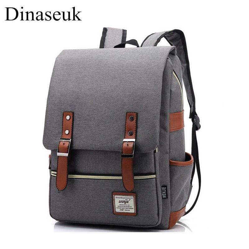 Us 19 59 30 Off Dinaseuk Vintage Backpack College Shoulder Bag Daypacks For Laptop 14 15 Inch Notebook Computer Bags Men Women School Rucksack In