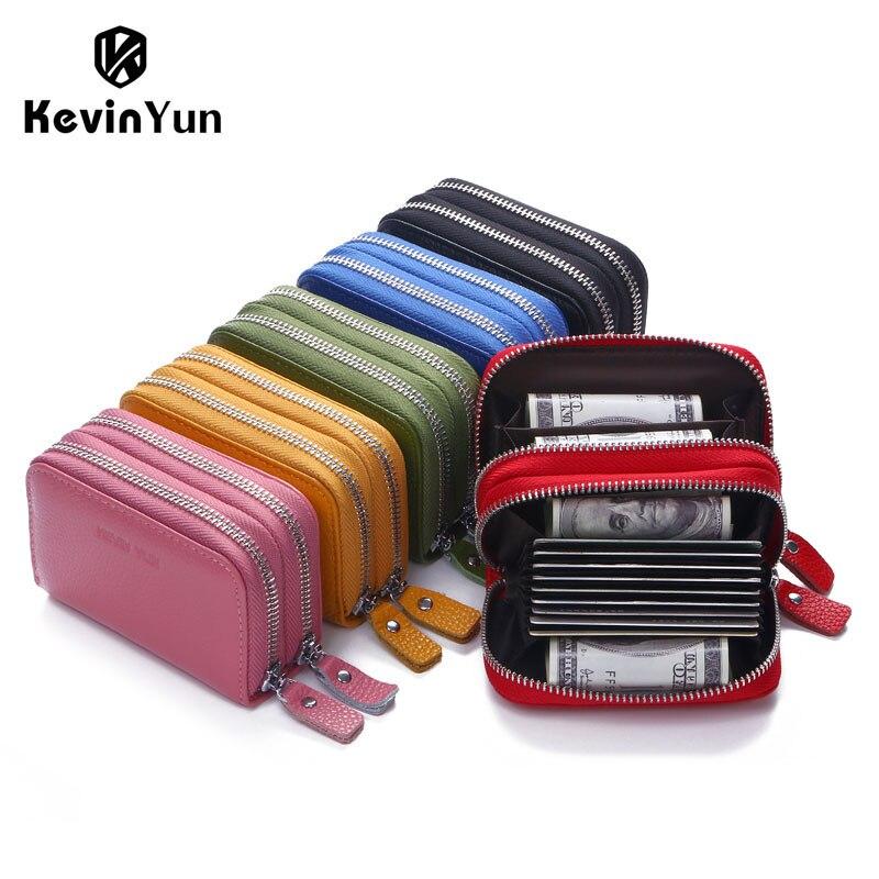 Kevin Yun diseñador marca moda mujeres titular de la tarjeta de doble cremallera cuero genuino Cartera de tarjetas de crédito caso bolsa