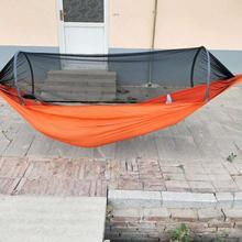 Automático ao ar livre mosquito rede parachute hammock portátil de acampamento pendurado dormir cama alta resistência dormir balanço 270x140cm