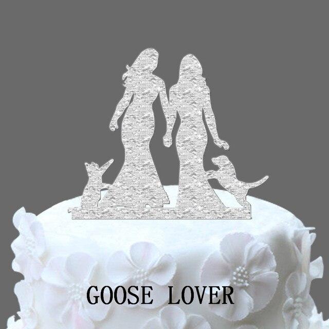 Rustic 2 Brides Wedding Cake Decoration Romance Lesbian Wedding