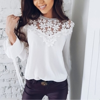 Spring Summer Long Sleeve Lace Chiffon Blouses Women Floral Patchwork Crocheted Lace Chiffon Tops Hollow Out