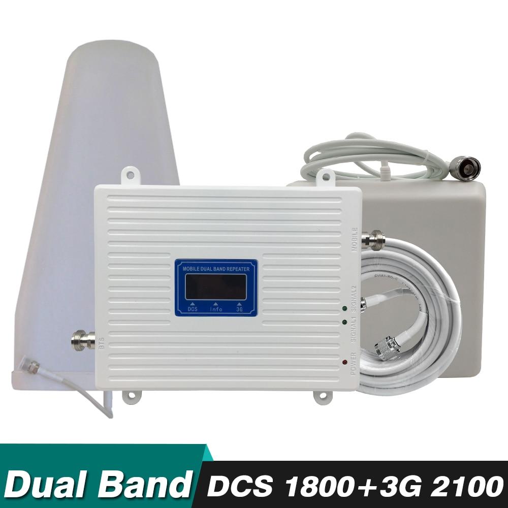 Ripetitore 3g 4g Dual Band Kit di Potenziamento DCS/LTE 1800 mhz WCDMA 2100 mhz Cellulare Ripetitore di Segnale cellulare Amplificatore di Antenna Set Completo