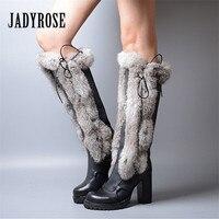 Jady Роза 2018 Новый Для женщин сапоги до колена Теплые зимние ботинки с кроличьим мехом на высоком каблуке ботинки на платформе Mujer на шнуровке