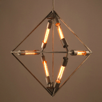 design lamp pendant lighting Industrial Rhombus hanging lamps for dining room Vintage Edison droplight iron retro pendant lights