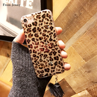 From Jenny Leopard Skin Phone Case For IPhone 6 7 6plus 7plus 6s Tassel Back Cover
