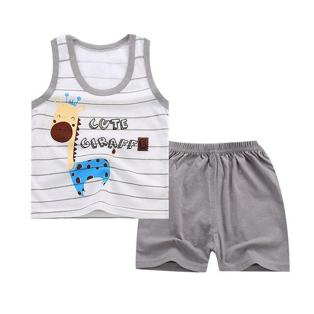 תינוקות ילדי פעוט קיץ תינוק בני בנות בגדי סט ילדי ספורט ילד חליפות אימוניות כותנה אפוד + מכנסיים