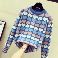 Lovely sweater sweet women autumn Korean version 2018 new bottoming sweater jacket pullovers female o neck collar full sleeve