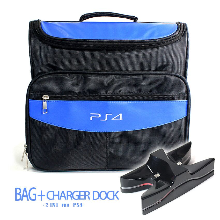 Game Accessories PS4 & PS4 Slim Travel Case Carrying Shoulder Bag + Charging Dock Cradle Station For Sony Playstation 4 PS4
