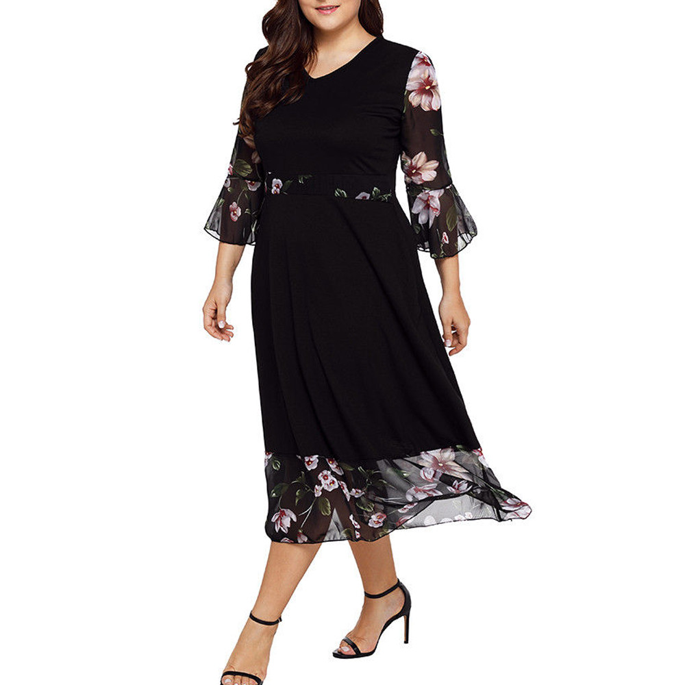 Women Bohe Long Dress Plus Size Long Sleeve Chiffon Strappy Loose Dress O-Neck Print Patch Dress for Clearence S-5XL