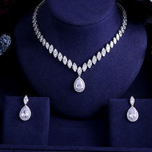 Hot Clear Cubic Zircon Wedding Jewelry Sets ,Bridal Earrings Necklace Set,Promotion,Nickel Free, Factory price(China)