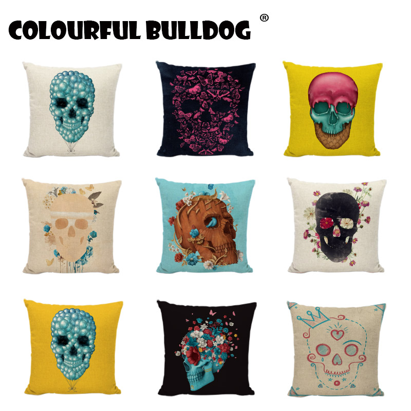 Sugar Skull Cushion Covers Day of Dead Flowers Painting Throw Pillow Case Garden Decorative Living Room Gaming Chair Pillowcases