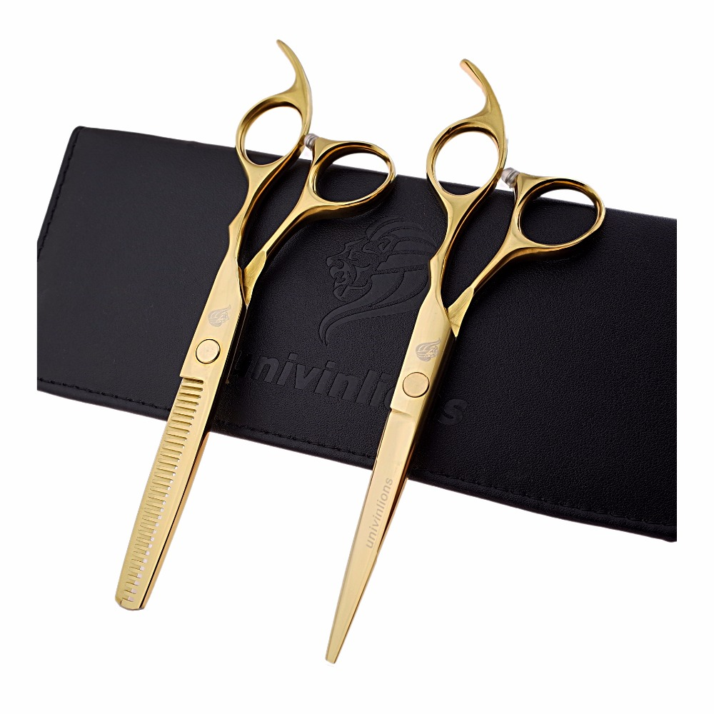 "6"" gold titanium hairdressing scissors golden hair scissors barber razor thinning haircut cheap hair cutting scissors pinking"
