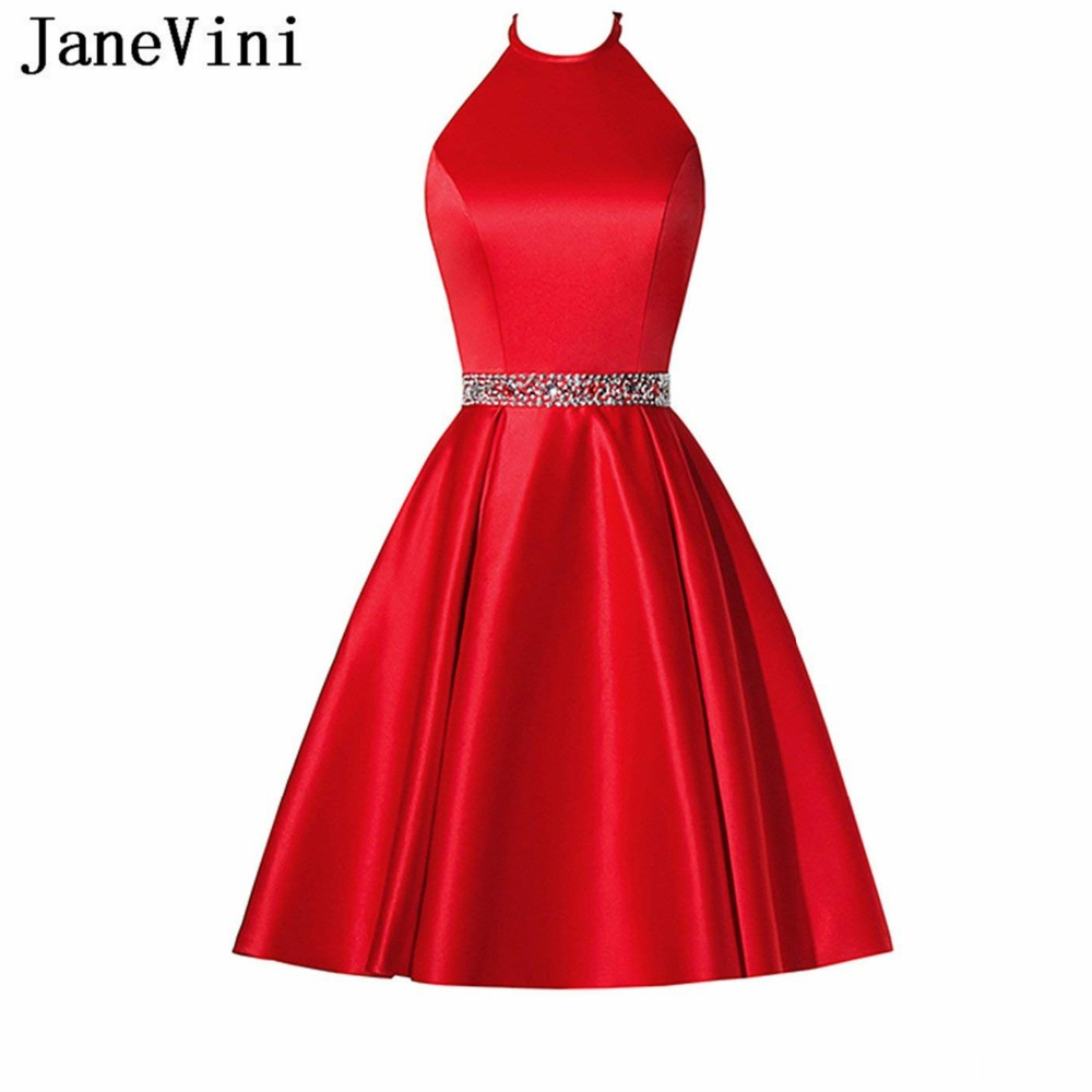JaneVini Simple Red Satin Beaded Short   Bridesmaid     Dresses   with Pockets A Line Halter Backless Girls Homecoming   Dress   Plus Size