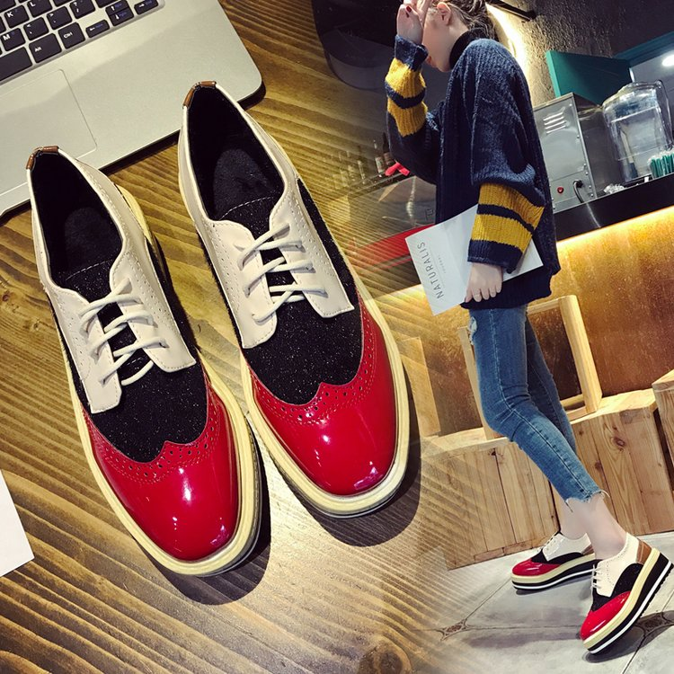 2018 Autumn Brand Women Shoes Thick Bottom Platform Shoes Woman Patent Leather Lace-up Casual Women's Single Shoes Loafers beffery women s shoes british style patent leather flat shoes fashion thick bottom platform shoes for women lace up casual shoes