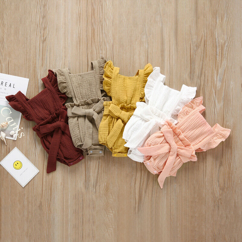 One Piece Newborn Baby Girl Bow   Romper   Ruffle Jumpsuit Sleeveless Backless Solid Sunsuit Outfit Clothes